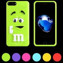 3D Cute Cartoon M&M Fashion Soft Silicon Cover Colorful Rainbow Case Skin Shell For iPhone 5 5s SE 6 6S 7 Plus iPod Touch 4 5(China (Mainland))