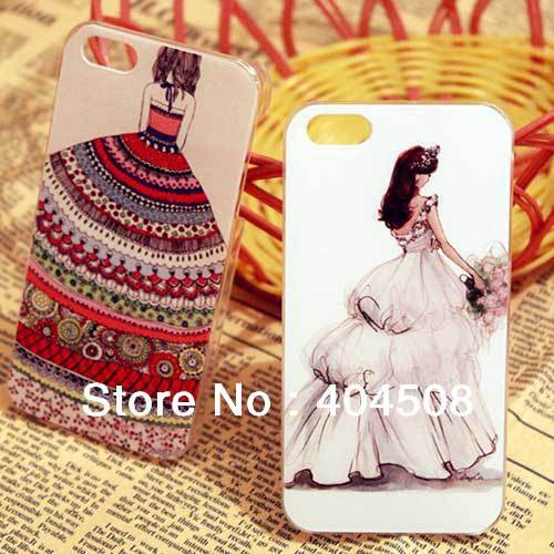 coloured drawing cell phone case for iphone 4 4S 5 5G mobile case hard back National dress lady with wedding veil drop shipping