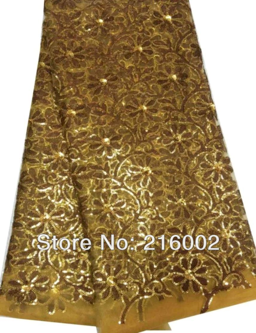 Free shipping by DHL, African embroidered mesh lace fabric with sequins. GOLDISH BROWN wedding dress fabric. 5yds/pc net lace.(China (Mainland))