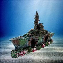 High Quality Modern Design Resin Boat Vessel Ornament Decoration For Fish Tank Cave 230x110x40mm(China (Mainland))