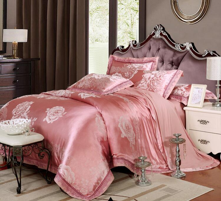 Oriental Peony blossom floral red bean color 4pcs Tencel Silk jacquard lace wedding home hotel duvet cover bedding set/B3217(China (Mainland))