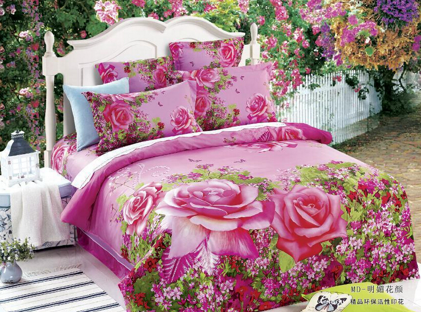 Full queen 100%cotton Fitted Sheet/3d pink rose floral bedding/girls comforter sets/pink green bedding/rose tree bedding sets(China (Mainland))