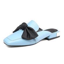 אביב סתיו חיצוני נשים נעלי עור אמיתי בתוספת גודל נעלי פרדות אופנה מזדמן כיכר הבוהן נמוך עקבים פרפר קשר(China)