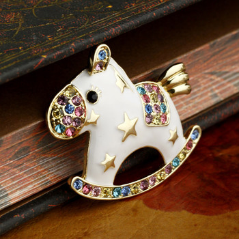 Special New Fashion Summer Style Lovely Horse Brooches Enamel Brooch Bouquet Rhinestone Free Shipping For Girls Women XZ141104