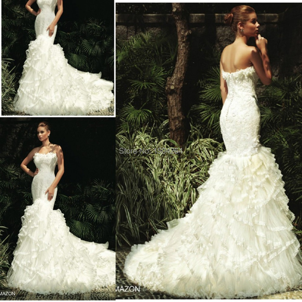 china on sale amazing tiered mermaid wedding dress 2015