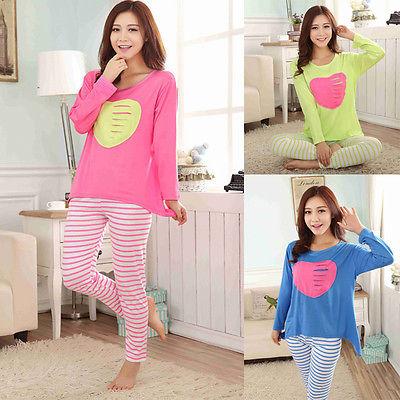 2015 Womens Pyjamas Set Love Heart PJs Night Top Trousers Stripe Pyjamas Nightwear(China (Mainland))