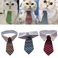 Dog Grooming Cat Striped Bow Tie Collar Pet Adjustable Neck Tie White Collar Dog Necktie Party