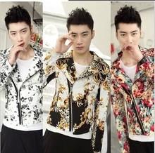 New 2014 Spring men's fashion leopard print plaid jacket novelty design slim short outerwear costumes ! M-XXL / Free shipping ! (China (Mainland))