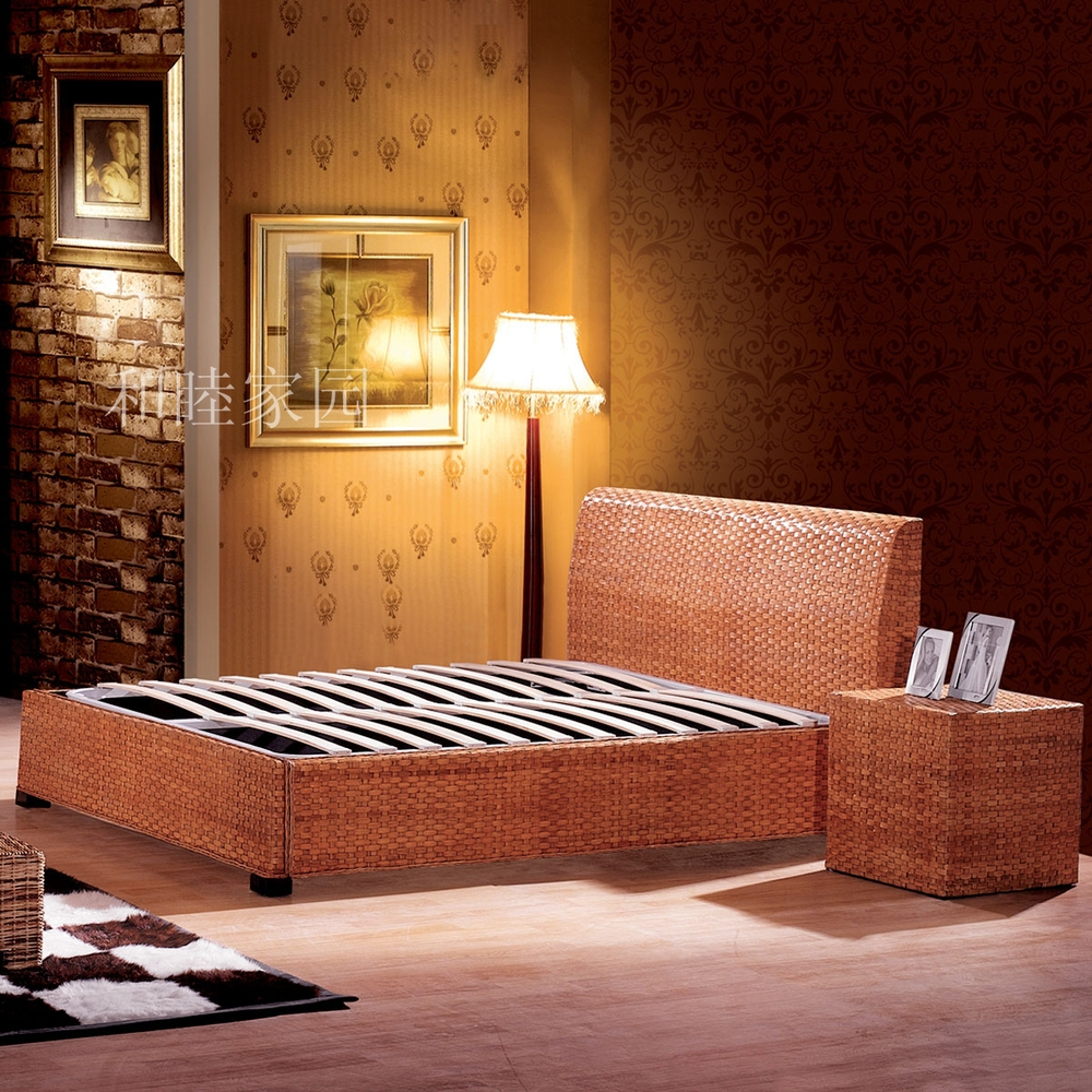 The New Special Factory Direct Rattan Furniture Rattan Bed Bedroom Nightstand Vine Rattan Cane