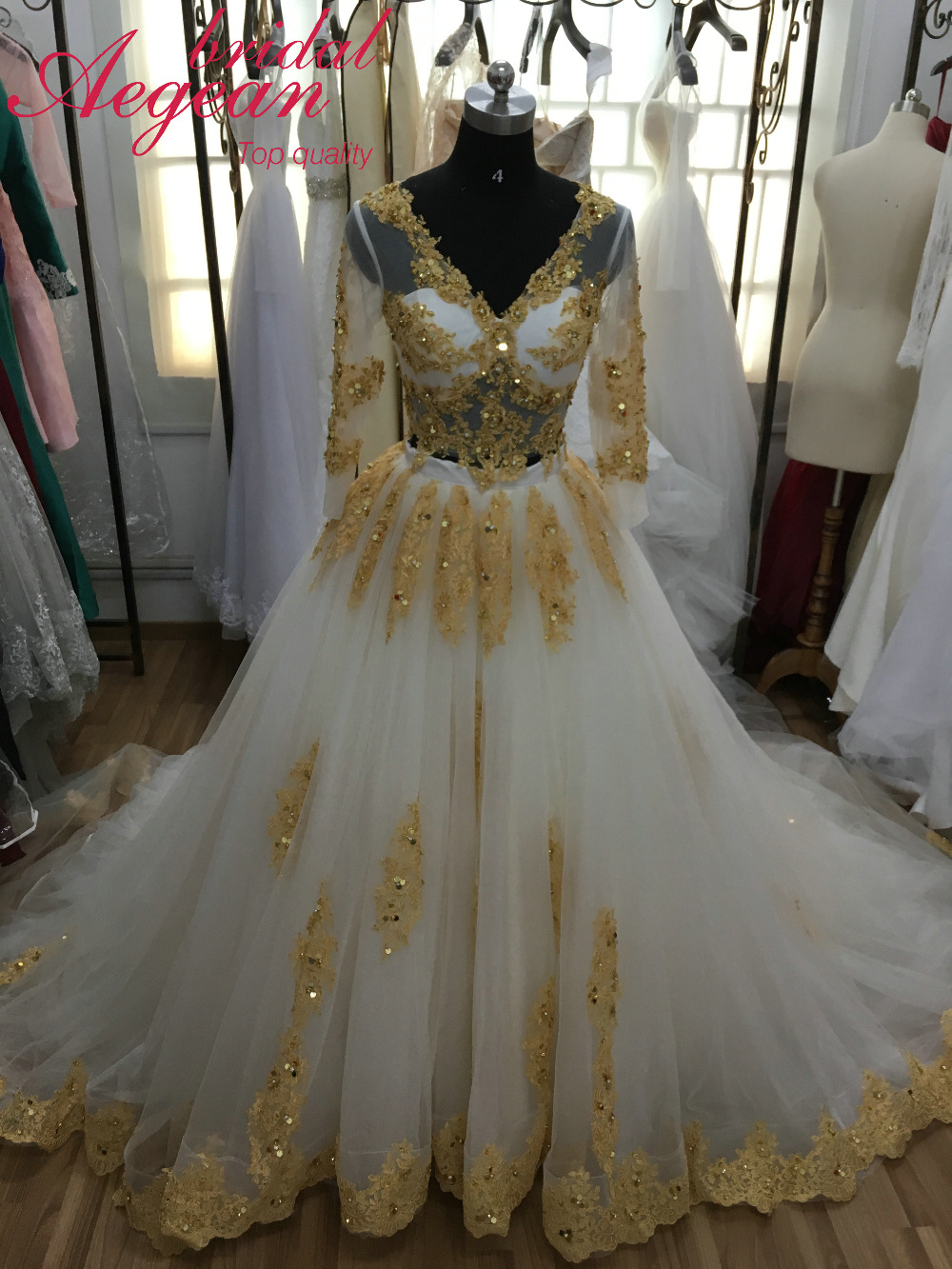 HQ146 Real Sample Two Pieces Wedding Dress Gold and Ivory Bridal Dress Sparkly Beaded Wedding Gown(China (Mainland))