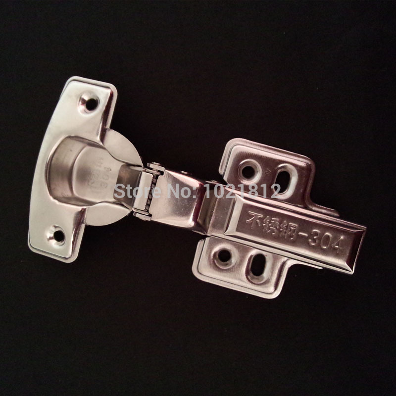 1 Pair Half overlay 1.5mm Thickness Hydraulic Cabinet Hinge 304 Stainless Steel Soft Close Brass Buffering Hinge Fixed Base(China (Mainland))
