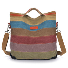 Women Canvas Striped Crossbody Bags Vintage Contrast Color Canvas Tote Handbags