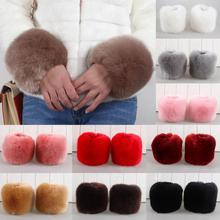 1 Pairs Faux Rabbit Fur Elastic Oversleeve Cuff Winter Warm Wristbands Women's Fashion Autumn Wrist Gloves Sleeve Cuff Cover(China (Mainland))
