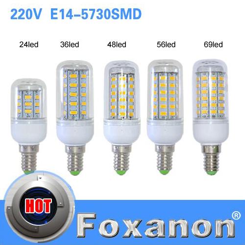 E14 5730 Led Lamps 220V 24 36 48 56 69leds LED Lights Corn Led Bulb Christmas lampada led Chandelier Candle Lighting 1PCS/Lot(China (Mainland))