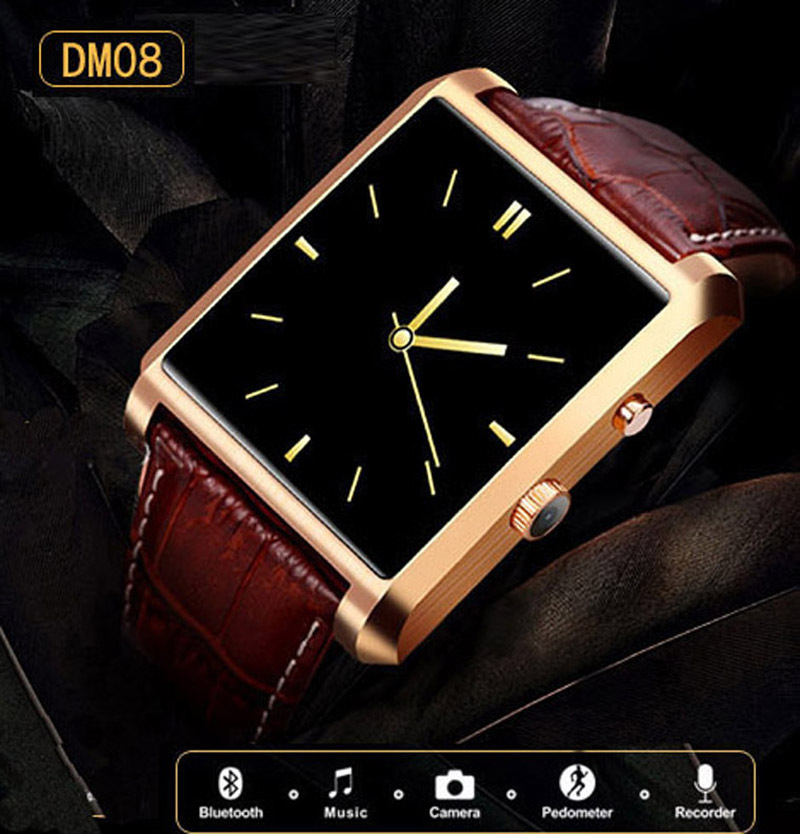 Bluetooth Smart watch DM08 Luxury Leather IPS Full View HD Screen Business Wristwatch Waterproof For Android IOS Phone(China (Mainland))