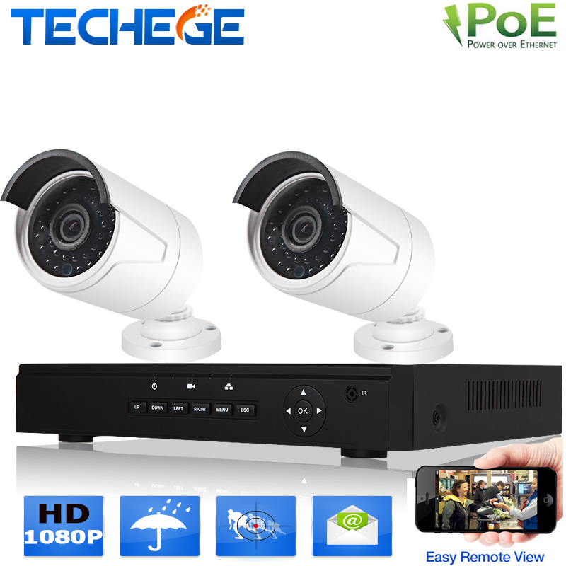 2.0MP Home video surveillance system 4CH 48V POE NVR+2x1080P POE IP camera IR-cut night vision CCTV system mobile view XMEYE(China (Mainland))