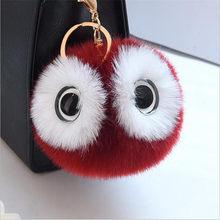 13 cm Grandes Olhos Fofo Coelho Bola De Pêlo Pompom Chaveiro Mulheres Carro Chaveiro Bonito Panda Dos Desenhos Animados Saco Coruja Keycover chave Anéis 6C0035(China)