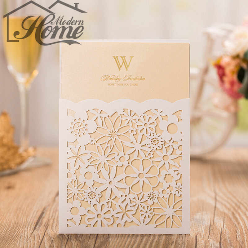 10sets 185 * 125mm White Elegant Laser Cut Wedding Inviting Card With Small Floral For Birthday Party Wedding Invitation Cards(China (Mainland))
