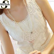 Lace Tank Top Women Shirt 2016 Summer Fashion O-neck Sleeveless Elegant Floral Embroidery Vest Plus Size Ladies Clothing XXXXL(China (Mainland))