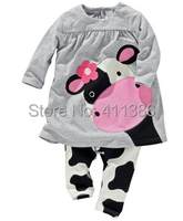 ST105 Free Shipping 2014 Newest Girl Boy Small Cow Long Sleeve Pants Suits Baby Cartoon 2Pcs Sets Children Lovely Garment Retail