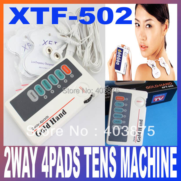 XFT502 Gold Hand Two Ways Low Frequency Massager TENS Units Stimulators 2WAY 4PADS Full Body Therapy Massager Free Shipping(China (Mainland))