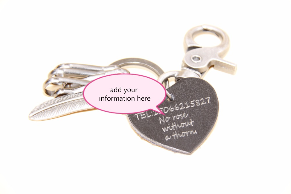key losing end solution customized your information leather key chain personalized DIY contact lost phone number(China (Mainland))