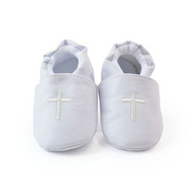 Children Hot Sale Baby Kids Cross Baptism Christening Shoes 2015 New White Church Soft Sole PU Leather Shoes S M L Prewalker