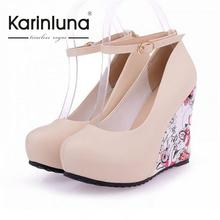 Fashion Women Wedge Heel Pumps Sweet Ankle Straps High Heel Shoes Bohemia Flower Print Round Toe Platform Pumps Party Shoes(China (Mainland))