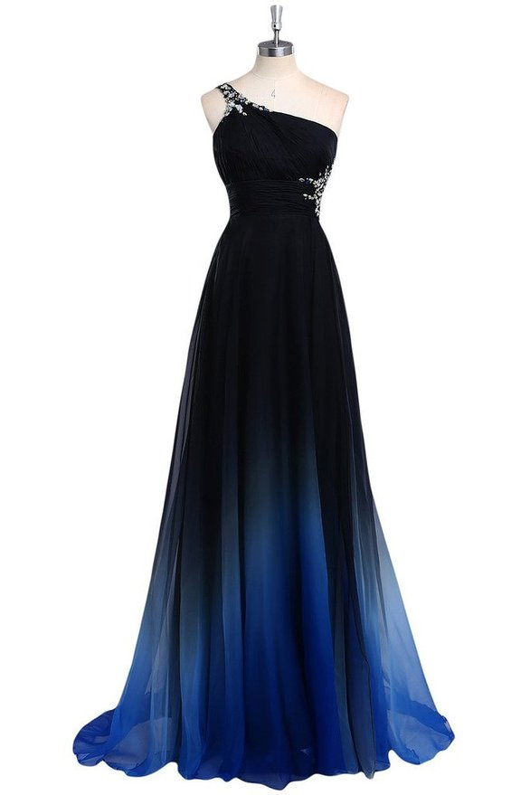 One Shoulder Crystals Beaded Gradient Chiffon Long Navy ...