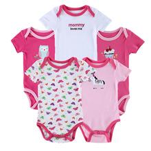 5Pcs/Lot Short Sleeve Baby Rompers 100% Cotton Newborn Baby Clothes Baby Girl Summer Clothing Baby Sets roupa de bebe menino(China (Mainland))