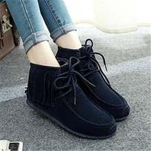 Moda para mujer plana botas de nieve zapatos de invierno 2015 nuevo mujeres de la llegada del tobillo patea los zapatos borla zapatos de las mujeres(China (Mainland))