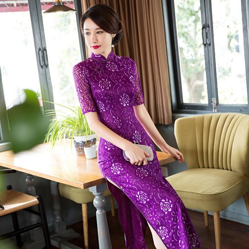 ด้านคุณภาพวินเทจสตรีลูกไม้ยาวCheongsamแฟชั่นสไตล์จีนชุดที่สง่างามQipaoขนาดSml XL XXL XXXL F101301 ถูก