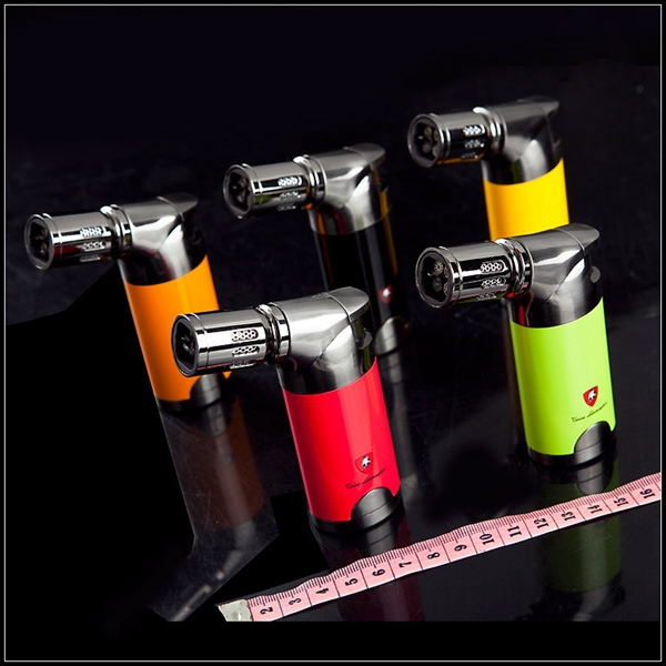 Famous Brand Windproof 4 Torch Jet Flame Metal Cigar Cigarette Lighter with 5 Colors(China (Mainland))