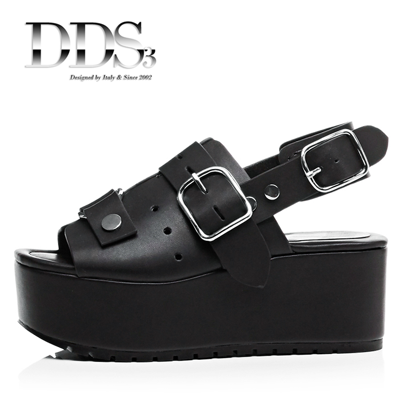 DDS3 Women Sandals Genuine Leather Gladiators Retro Rome Style Wedge Heel Sandals Platform Slingbacks Shoes Woman With Buckle<br>