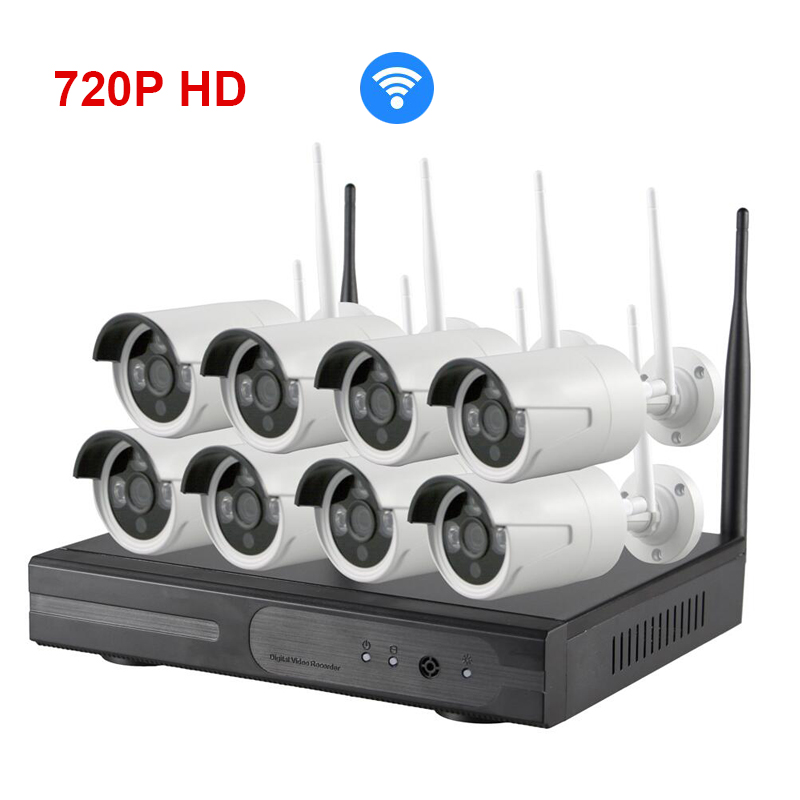 Wireless 8ch 720p HD Wifi IP Camera NVR Security system all in one NVR KIT 8 Channel Recorder IP DVR for IP Cam infrared webcam(China (Mainland))