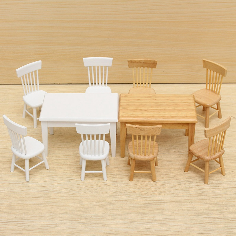 Hot Sale Beautiful Design 1:12 Dollhouse Miniature Furniture Wooden Dining Room Table And 4 Chairs Set Gift 2 Colors(China (Mainland))