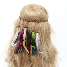 Buy 2017 Hippy Feather Headband Women Girls Multicolor Hair Accessories Indian Gypsy Peacock Feather Hair Band Headwear for $2.06 in AliExpress store
