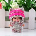 Cute Monchichi Keychain Sleutelhanger Rhinestone Dolls Crystal Keyring Car Key Chain Women Key Holder Ring Bague