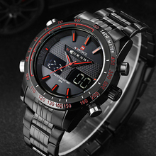 Buy Watches men NAVIFORCE 9024 luxury brand Full Steel Quartz Clock Digital LED Watch Army Military Sport watch relogio masculino for $107.50 in AliExpress store