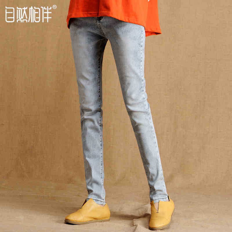 Women with bound feet jeans light blue and white jeans pencil pants The new Slim thin jeans female Seven dimensions Y1123-128C(China (Mainland))