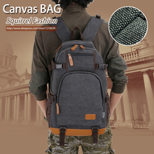 Squirrel fashion canvas men's daily travel duffle backpacks for laptop Korean style vogue hipster versatile youth school bag