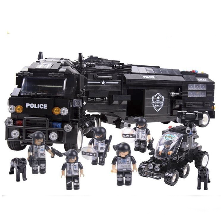 SWAT series Defenders battle command vehicle Mobile Police Unit building block 1492pcs assembly toy christmas gift c0552(China (Mainland))