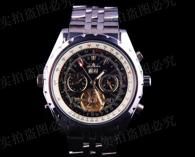 Free shipping high class JARAGAR mechanical watches stem winder men hand winding watches with calender  stainless steel strap