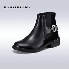 BASSIRIANA Big Size Real Leather Women Boots Motorcycle Girls Casual Walking Shoes Winter Chaussure 2017 For Woman(China (Mainland))