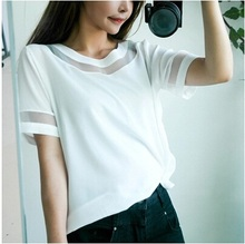 Dropshipping! t shirt women 2015 loose blusas femininas Organza stitching chiffon blouse S M L XL Size(China (Mainland))