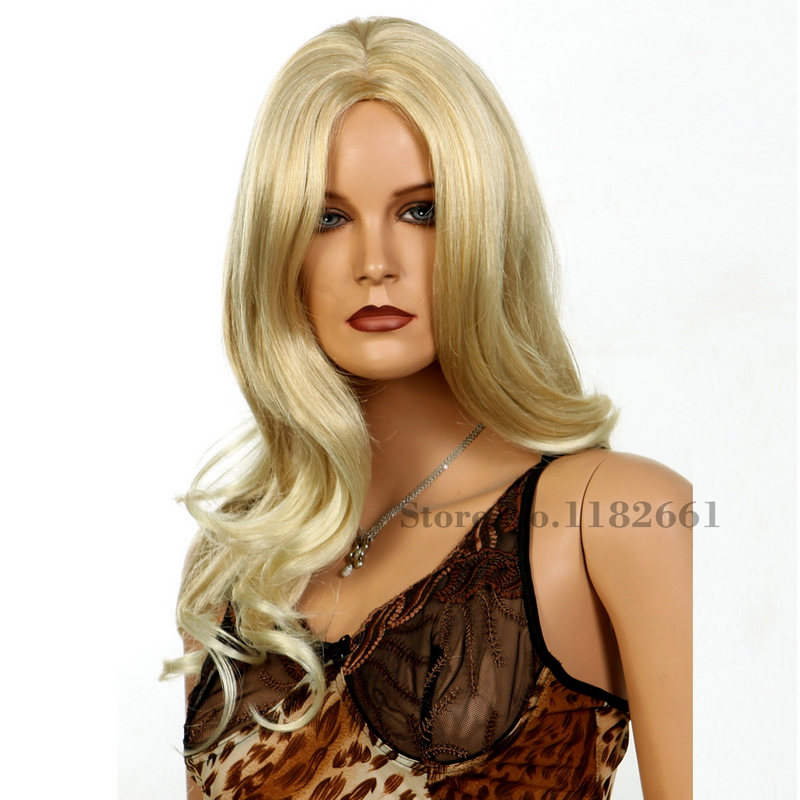 U Part  Highlights Blonde Long Wavy Wig For White Women Top Quality Japanese Fiber Fashion Sexy Hair Pelucas Pelo Natural