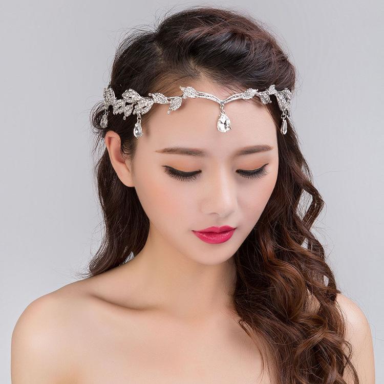 Korean Vintage Crystal Bridal Headbands Wedding Rhinestone Waterdrop Leaf Tiara Crown Headband Frontlet Bridesmaid Hair Jewelry