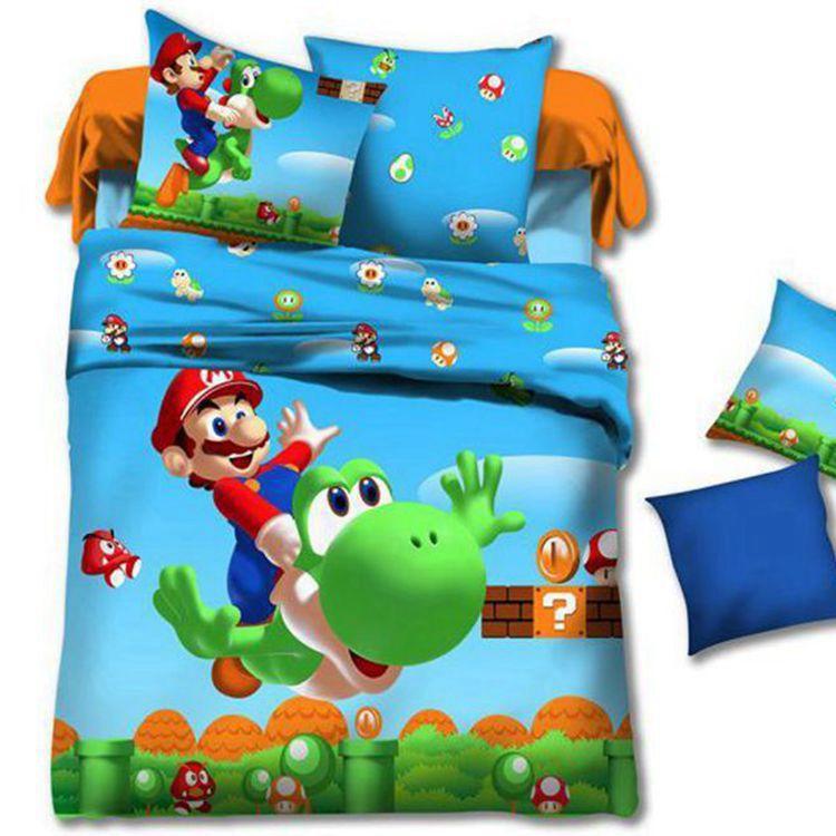 Super Mario Kids Cartoon Baby Toddler Bedding Set Twin