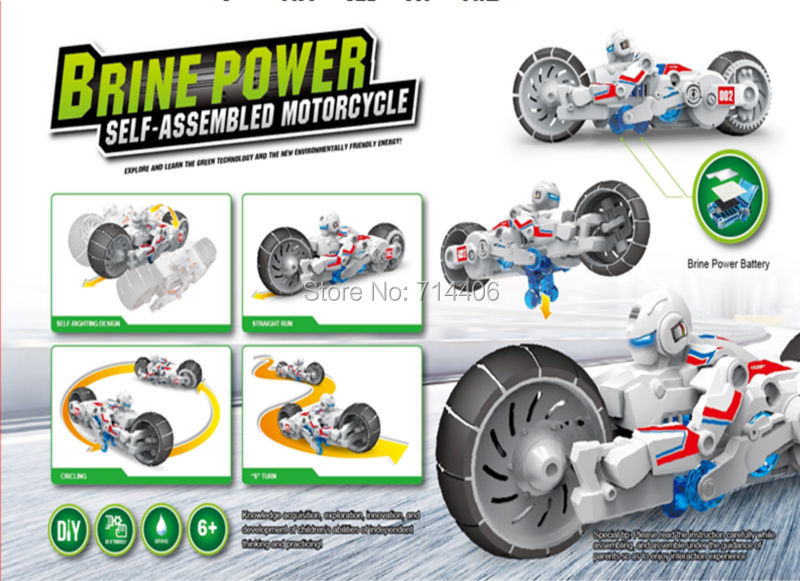 Hot sale Brine power self assembled motorcycle,puzzle toy for all kid science&educational salt blocks best gift