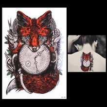 1 Sheet Tattoo Sticker for Women Men Body Arm Art HB388 Design Red Fox Clock Time Pattern Temporary Tattoos Sticker Unique Gifts(China (Mainland))